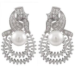 Sterling Silver Cubic Zirconia and Freshwater Pearl Double Teardrop Filigree Omega Earrings (7-8 mm)