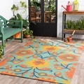 Hand-Hooked Jacklyn Floral Indoor/Outdoor Polypropylene Rug (8' x 10')