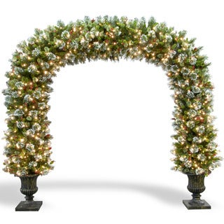 8.5-foot Wintry Pine 900 Clear Lights Archway in Dark Bronze Fiberglass Pot