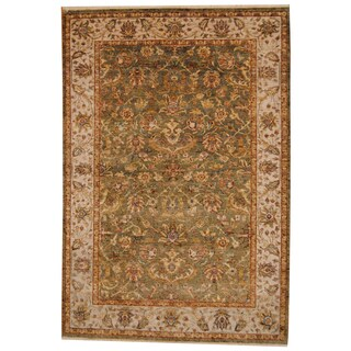 Herat Oriental Indo Hand-knotted Vegetable Dye Green/ Beige Wool Rug (6'1 x 9')