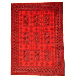 Herat Oriental Afghan Hand-knotted Tribal Balouchi Red/ Black Rug (6'9 x 9'4)