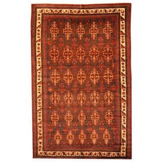 Herat Oriental Afghan Hand-knotted Tribal Balouchi Blue/ Brown Rug (7'4 x 11'7)