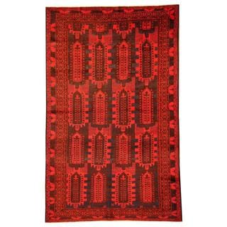 Herat Oriental Afghan Hand-knotted Tribal Balouchi Red/ Blue Rug (6'4 x 10'1)
