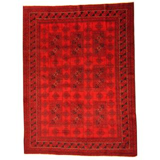 Herat Oriental Afghan Hand-knotted Tribal Balouchi Red/ Ivory Rug (6'8 x 9')