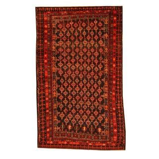 Herat Oriental Afghan Hand-knotted Tribal Balouchi Brown/ Blue Rug (5'4 x 8'9)