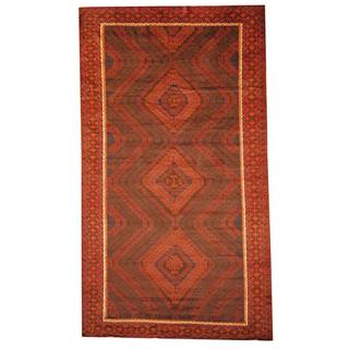 Herat Oriental Afghan Hand-knotted Tribal Balouchi Brown/ Blue Rug (7' x 12'4)