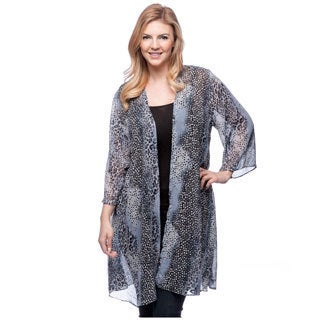 24/7 Comfort Apparel Women's Plus Size Printed Layering Shrug