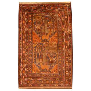 Herat Oriental Afghan Hand-knotted Tribal Balouchi Blue/ Brown Rug (6'2 x 9'11)