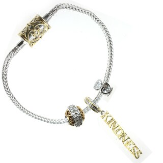 Michael Valitutti Sterling Silver 'Kindness' Triple Charm Set with Bracelet