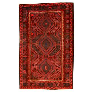 Herat Oriental Afghan Hand-knotted Tribal Balouchi Red/ Brown Rug (6'1 x 9'7)