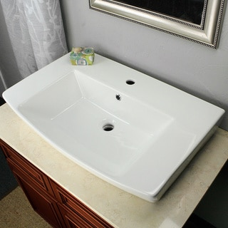Highpoint Collection Vitreous China 30 Inch Curved Rectangle Vessel Sink with Faucet Hole and Overflow