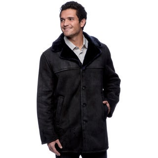 Fourteen-Zero Men's Navy Lamb Shearling Car Coat