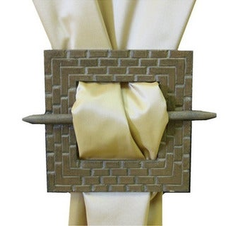 Square Wooden Brooche Curtain Tieback Pair