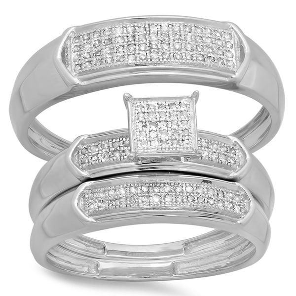 Elora Sterling Silver 1/3ct TDW Diamond Men and Women's Micro Pave Engagement Ring Trio Bridal Ring Set (I