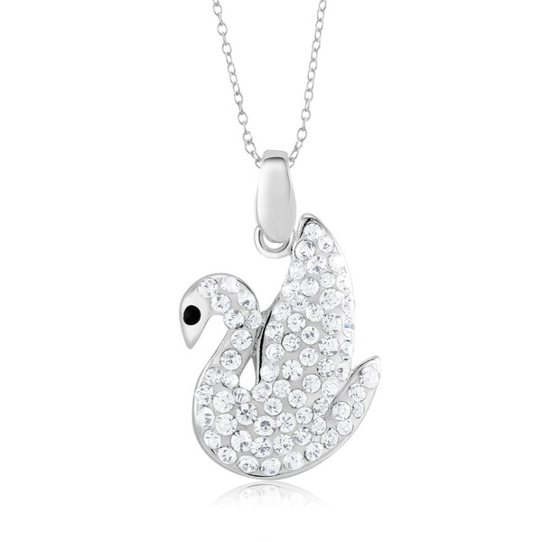 Sterling Silver-plated Crystal Swan Pendant 18-inch Necklace