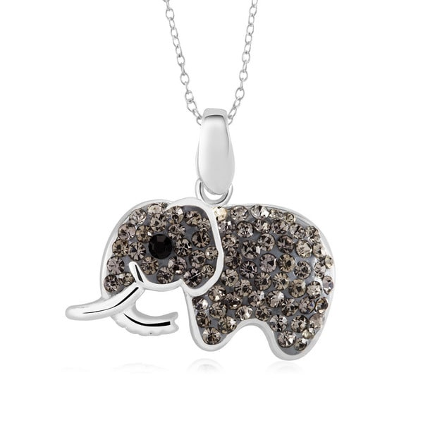 Sterling Silver Plated Crystal Elephant Pendant 18-inch Necklace