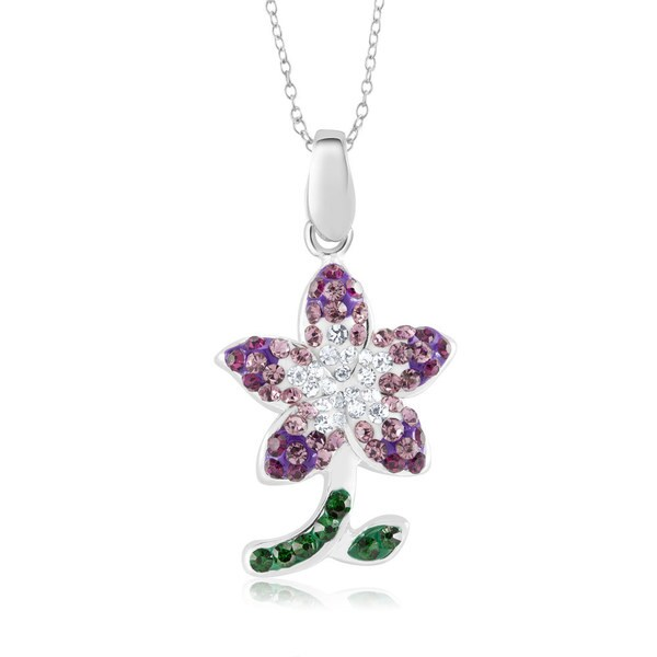 Sterling Silver-plated Crystal Flower Pendant 18-inch Necklace