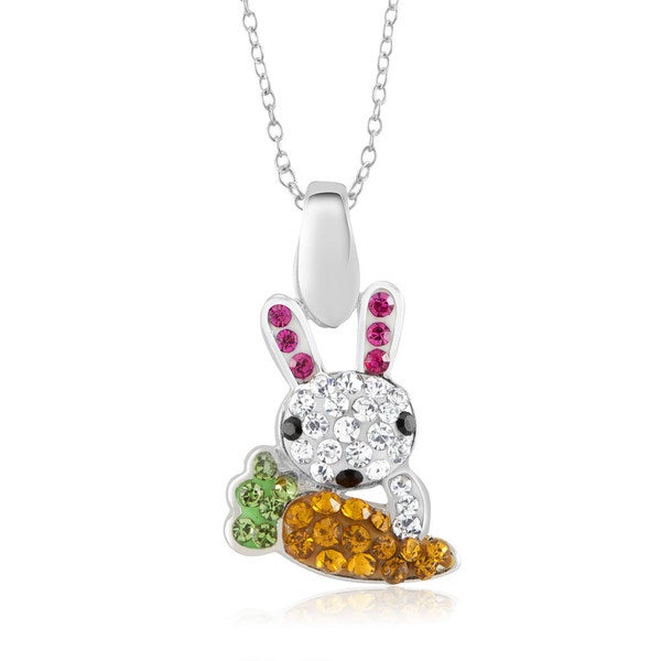 Sterling Silver-plated Crystal Rabbit Pendant 18-inch Necklace