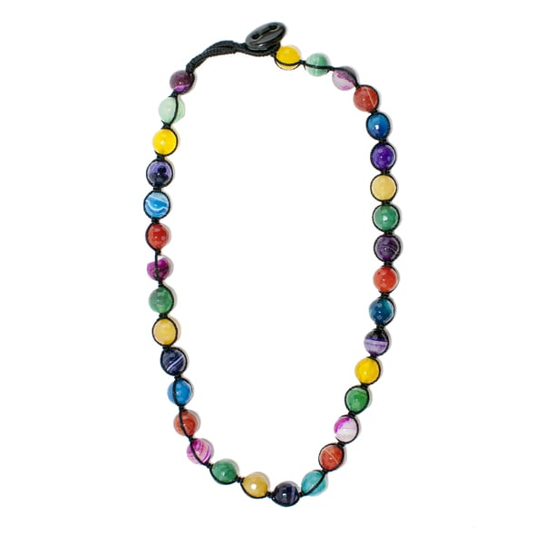 Multi-colored Agate Bead Necklace