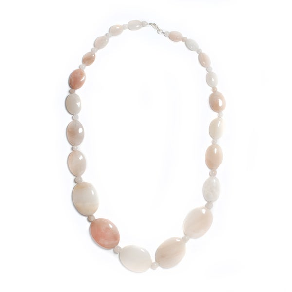 Pink Agate Bead Necklace