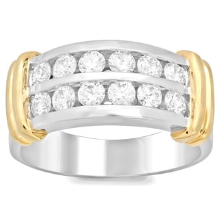 Men's 14k Two-tone Gold 1 4/5ct TDW Diamond Ring (F-G, SI1-SI2)