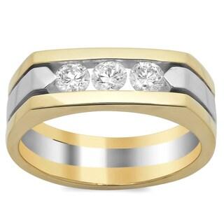 14k Two-tone Gold Men's 4/5ct TDW Diamond Ring (F-G, SI1-SI2)