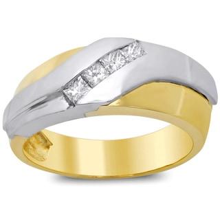 14k Two-tone Gold Men's 1/2ct TDW Diamond Ring (F-G, SI1-SI2)