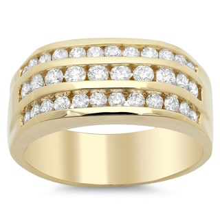 14k Yellow Gold Men's 1 1/2ct TDW 3-row Diamond Ring (F-G, SI1-SI2)