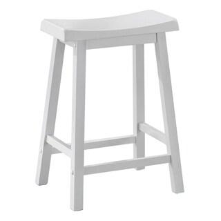 White Saddle Seat Bar Stools (Set of 2)