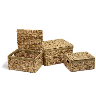 Adeco Multi-Purpose Seagrass Woven Basket Chests with Handles, Rectangular Home Decor (Set of 3)