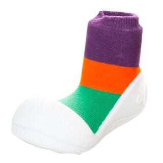 Attipas Infant Purple Colorblocked Cotton and Rubber Shoes