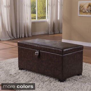 Luxury Collection Classic Buckled Storage Bench Ottoman