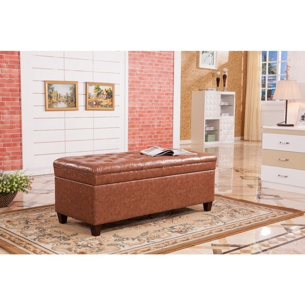 Luxury Collection Classic Saddle Brown Tufted Storage Bench Ottoman
