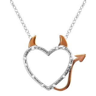 Rose Gold-plated Sterling Silver 1/10ct TDW Diamond Devil Heart Pendant (I-J, I2-I3)