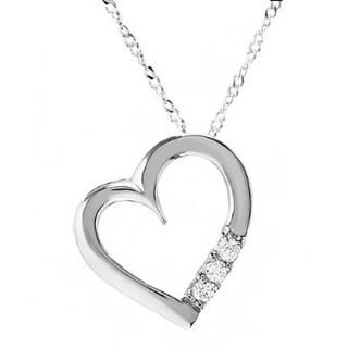 Sterling Silver 1/6ct TDW Diamond 3-stone Heart Pendant (I-J, I1-I2)