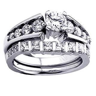 14k White Gold 1 3/4ct TDW Princess and Round Diamond Bridal Ring Set Engagement Set (H-I, I1-I2)