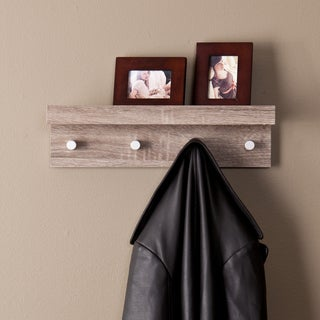 Upton Home Arcadia Dark Oak Wall Mount Shelf with Hangers