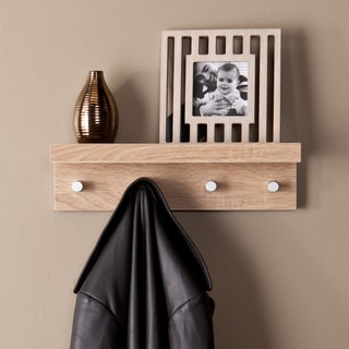 Upton Home Arcadia Light Oak Wall Mount Shelf with Hangers