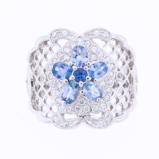 Meredith Leigh Platinum-plated Sterling Silver Tanzanite Cubic Zirconis Flower Ring