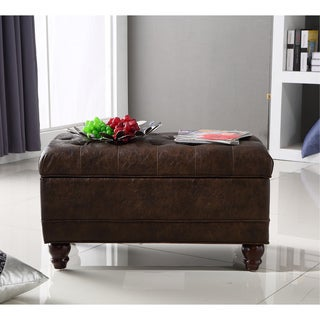 Royal Comfort Collection Traditional Classic Button Tufted Bench Storage Ottoman