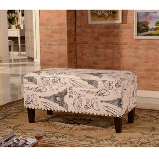 Luxury Comfort Collection Classic Paris Vintage French Writing Aqua Storage Bench Ottoman