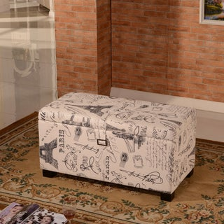 Royal Comfort Collection Luxury Paris Vintage Buckled Storage Bench Ottoman
