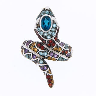 Meredith Leigh Sterling Silver Multi-gemstone Coil Snake Ring