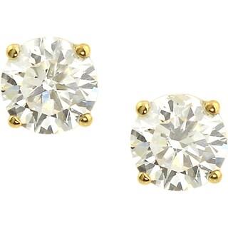 Auriya 18k Gold 3/4ct TDW Clarity-Enhanced Round Diamond Stud Earrings (E-F, H-I, J-K / VS1-VS2, SI1-SI2, I1-I2, I3)