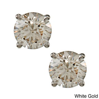 18k Gold 0.50ct TDW Clarity-Enhanced Round Diamond Stud Earrings (E-F, H-I, J-K / VS1-VS2, SI1-SI2, I1-I2, I3)