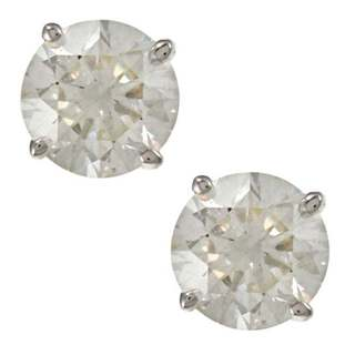 Auriya 18K Gold 1ct TDW Clarity-Enhanced Round Diamond Stud Earrings (E-F, G, H-I, J-K / VS1-VS2, SI1-SI2, I1-I2, I3)