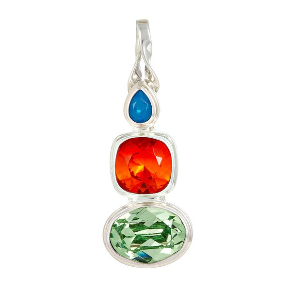 Sterling Silver Crystal Caribbean Blue Opalescent, Fire Opalescent and Peridot Pendant