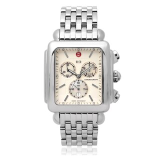 Michele Stainless Steel 'Deco XL Series' Chronograph Watch