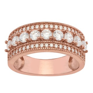 Gioelli Sterling Silver Rose Gold Plated Cubic Zirconia Ring