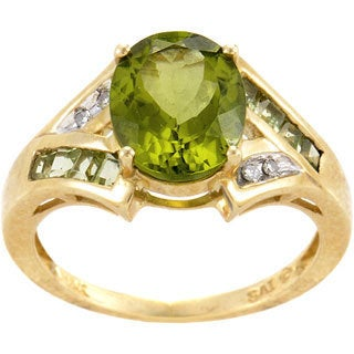 14k Yellow Gold Peridot and Diamond Accent Ring